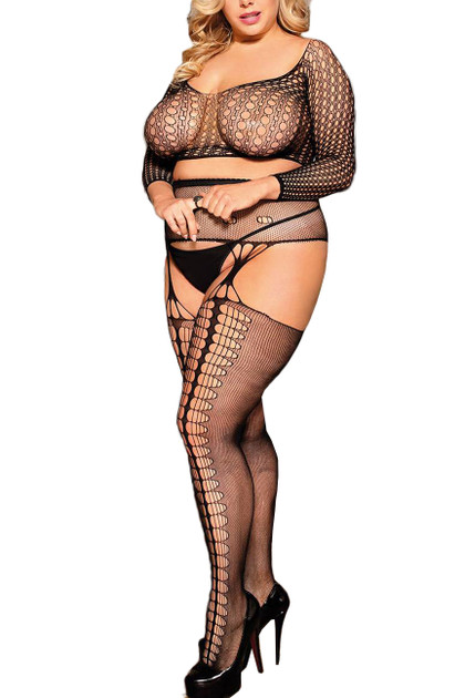 Alice Long Sleeve Cropped Fishnet Garter Body Stockings Plus