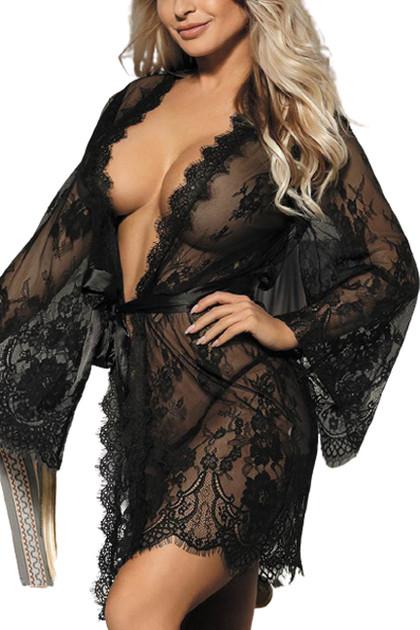 Black Debbie Sheer Eyelash Lace Kimono Robe