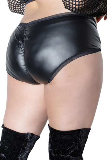 Black Vinyl Ruched back Faux Leather Mid Waist Panty Plus Size