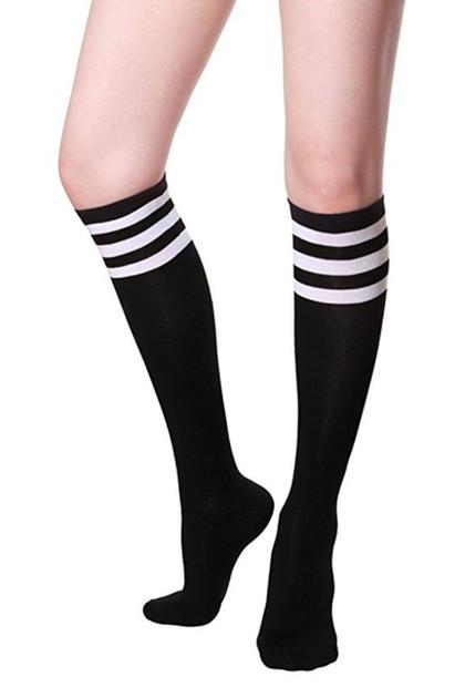 Black Sporty Soccer Knee Socks