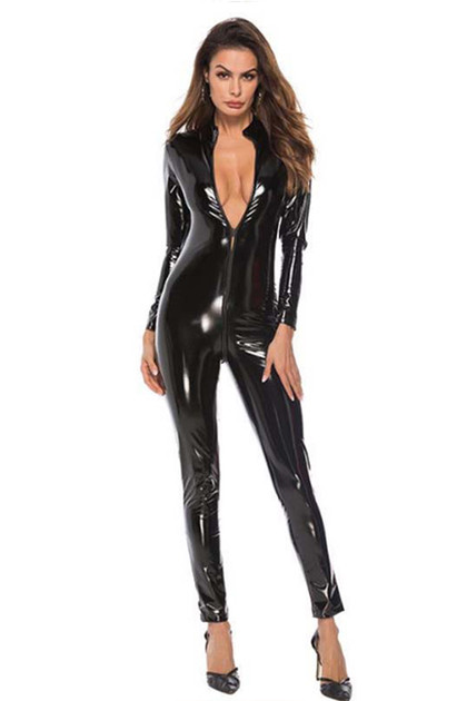 Elvira Vinyl Faux Leather Catsuit Plus Size 3XL