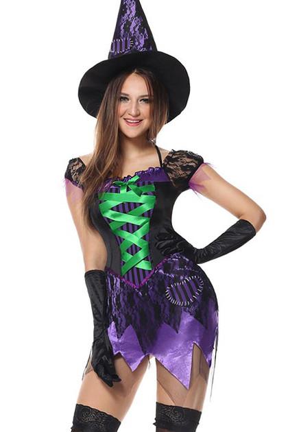 Purple Seductive Witch Costume