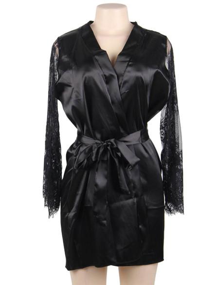 Emy Black Satin Lace Sleeves Robe Set