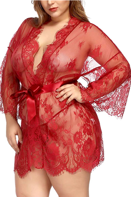 Red Debbie Sheer Eyelash Lace Kimono Robe Plus Size