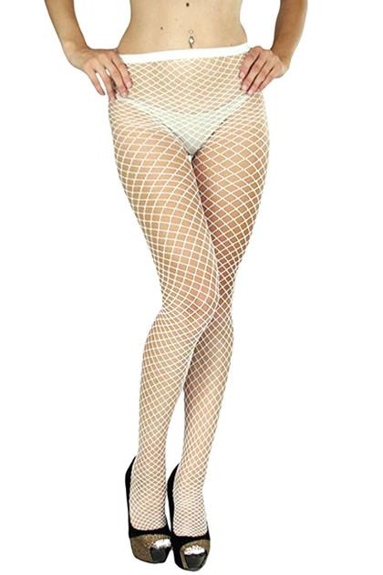 White Fishnet Full Tights Pantyhose