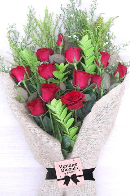 24 Red Roses Bouquet Vintage Blooms™️