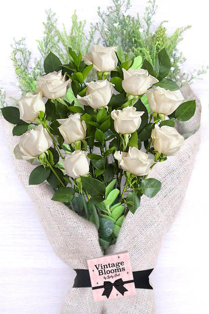 White Roses Flower Bouquet Vintage Blooms by Lucky Doll®