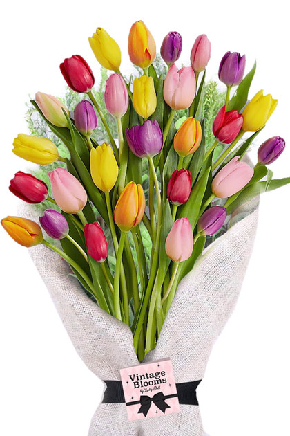30 Multicolor Tulips Bouquet Vintage Blooms by Lucky Doll®