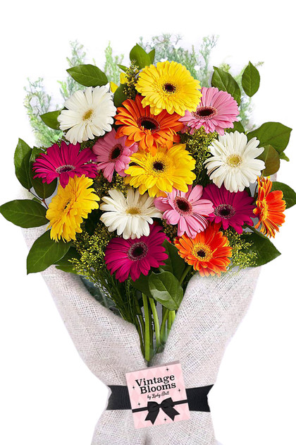 20  Multicolor Gerbera Daisies Bouquet Vintage Blooms by Lucky Doll®
