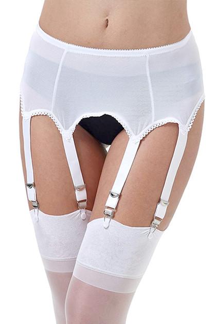 Bianca White Mesh Retro Garter Belt Panty Set
