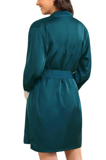 Ella Emerald Green Satin Chemise Robe Lingerie Set