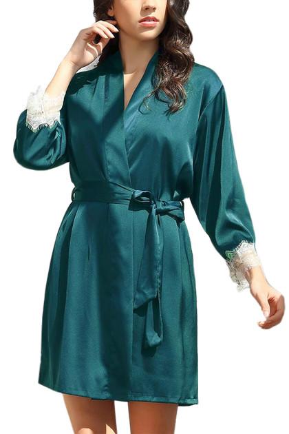Ella Emerald Green  Satin Chemise Robe Lingerie Set Plus Size