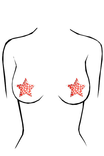 Red & Silver Star Disposable Nipple Pasties 2 pairs