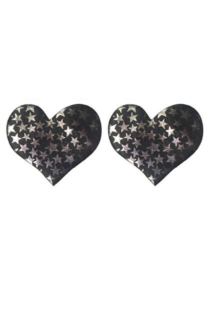 Black Heart Disposable Nipple Pasties 2 pairs