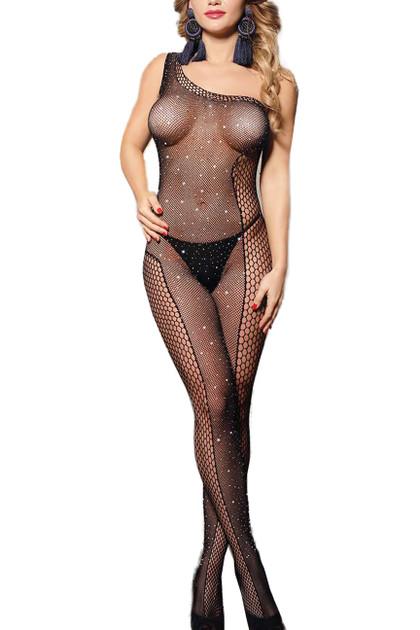 Amy Sparkle Fishnet One Shoulder Full Body Stockings