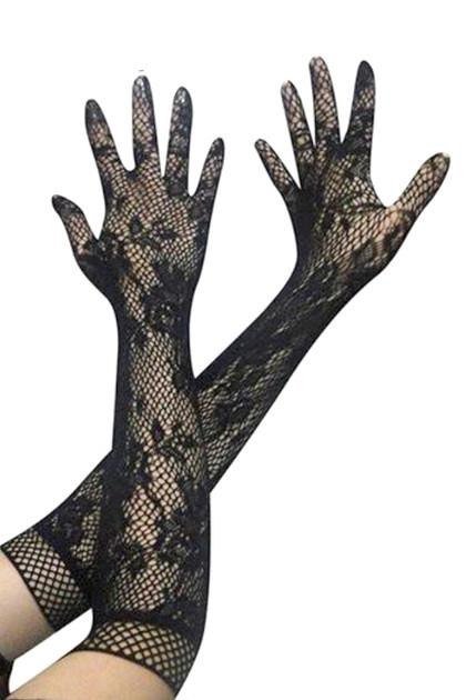 Gothic Black Lace Fishnet Long Gloves