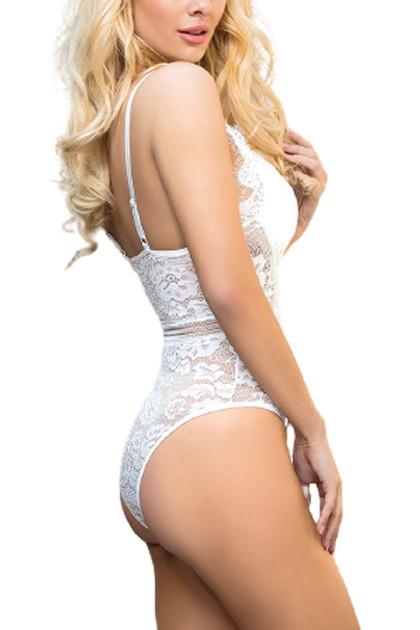 Teagan White Satin Lace Bodysuit Teddy Lingerie