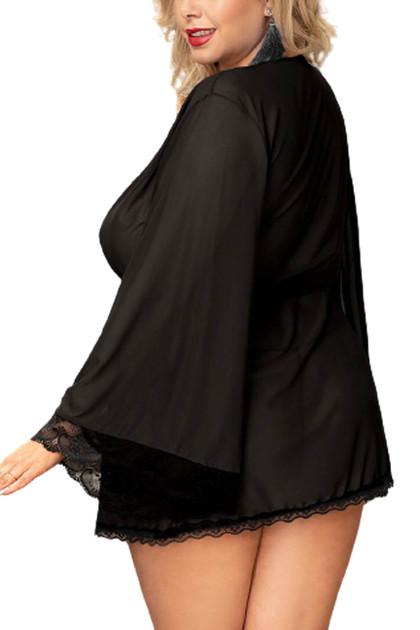 Matilda Black Sheer Lace Elegant Kimono Robe Plus Size