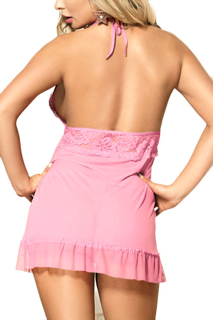 Brook Baby Pink Lace Halter Fly Away Babydoll Lingerie