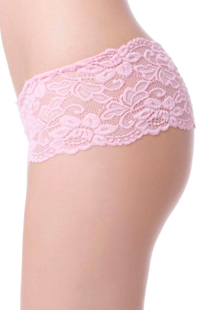 Sexy Baby Pink Floral Lace Cheeky Panty