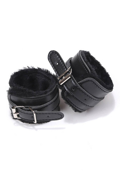 Black Faux Leather Fur Lined Buckle Handcuffs with Chain