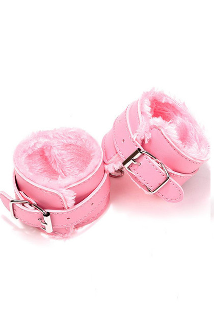 Pink Faux Leather Fur Lined Buckle Handcuffs with Chain