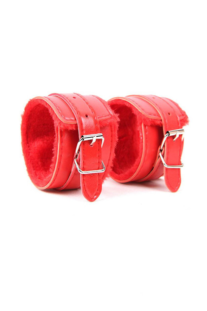 Red Faux Leather Fur Lined Buckle Handcuffs with Chain
