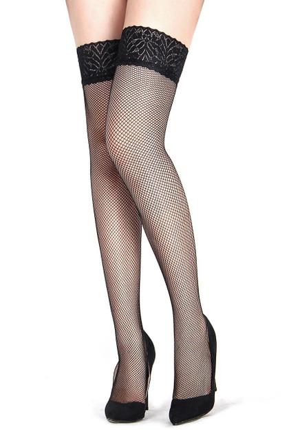 Black Lace Top Medium Fishnet Thigh Stockings