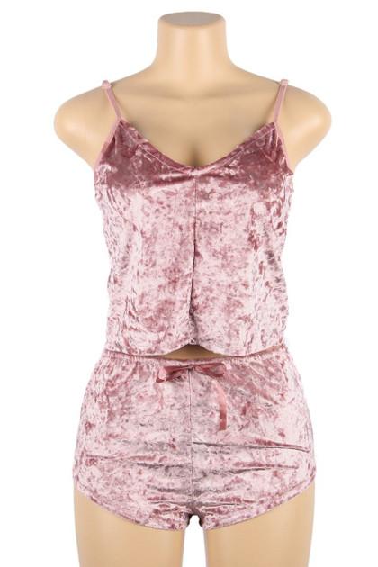 Viola Pink Velvet Cami and Shorts Lingerie Set Plus Size
