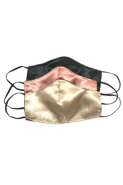 Pack of 3 Satin Face Masks in Black, Retro pink and Champagne