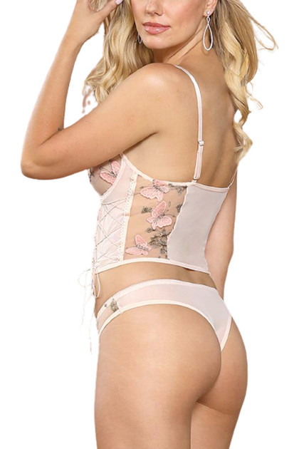 Eden Pink Butterfly Embroidered Sheer Cami Thong Lingerie Set