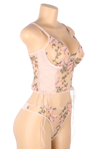 Eden Pink Butterfly Embroidered Sheer Cami Thong Lingerie Set Plus Size