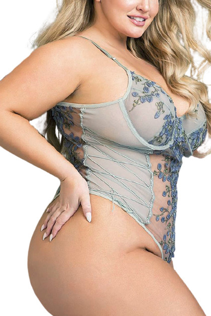 Eden Gray Butterfly Embroidered Sheer Teddy Plus size
