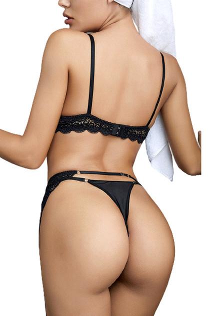 Vivian Black Lace Bra Garter Belt Thong Lingerie Set