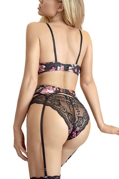 Penelope Floral Lace Bra Garter Belt Thong Lingerie Set