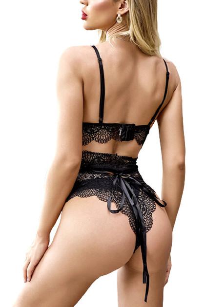 Eliza Black Lace Bralette High Waist Thong Lingerie Set