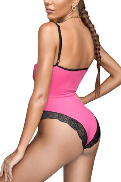 Sienna Pink Satin High Cut Teddy Bodysuit