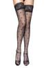 Black LaceTop Pin-up Polkadotted Sheer Thigh Stockings