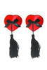 Red Heart Black Bow and Tassel Nipple Pasties