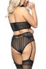 Daphne Lace Bustier Garter Belt Lingerie Set Plus