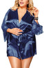 Emy Blue Satin Lace Sleeves Robe Set Plus Size