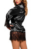 Veronica Black Satin Lace Trimmed Robe Set Plus Size