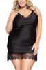 Mabel Black Satin Sleep Chemise Plus Size