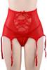 Tori Red Floral Sheer Highwaist Garter Belt Thong Set