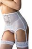 Tori White Floral Sheer Highwaist Garter Belt Thong Set Plus Size