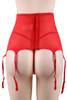 Tori Red Floral Sheer Highwaist Garter Belt Thong Set Plus Size