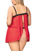 Dana Red Embroidered Babydoll Plus Size