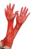 Gothic Red Lace Fishnet Long Gloves