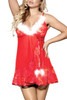 Christmas White Marabou Trimmed Red Lace Babydoll
