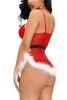 Christmas Santa Baby Red Lace White Marabou Camisole Babydoll